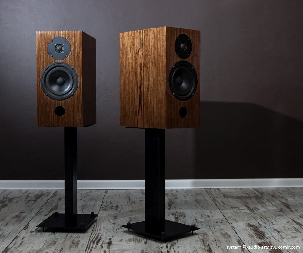 08.zvukomir.system.pi.two.way.speakers.and.stands.wood.and.aluminium